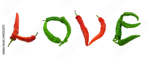 Love text composed of red and green chili peppers