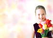 Obrazy na płótnie, fototapety, zdjęcia, fotoobrazy drukowane : Bambina con i tulipani