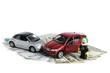 Авария двух автомобилей, деньги, полиция на белом фоне