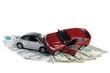 Постер, плакат: Авария двух автомобилей деньги на белом фоне
