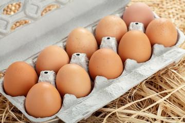 Braune Eier om Eierkarton