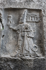 God Sharruma and King Tudhaliya, rock carving in Yazılıkaya