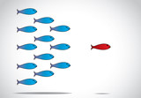 smart happy fish leading group closed eyes - leadership concept