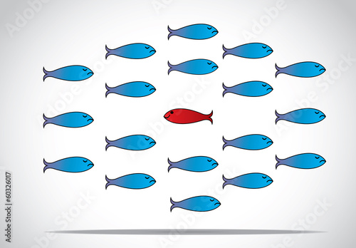 smart happy fish going against group unique different concept