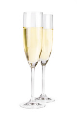 A pair of champagne flutes with clipping path