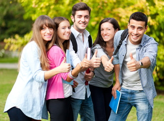 Group of students showing ok sign