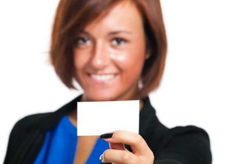Smiling businesswoman holding a blank card