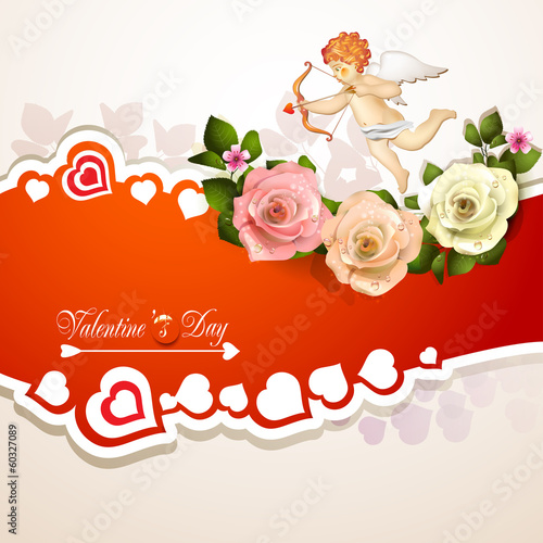 Valentine's day card with roses, hearts and cupid