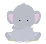 baby cute elephant, kawaii style