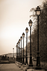 Row of street lamps in Paris in sepia
