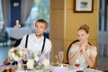 Bride and groom at the reception table