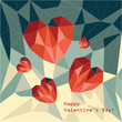 Polygonal red hearts