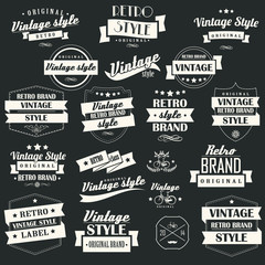Set of vintage retro labels, stamps, ribbons, marks, vector