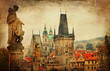 Prague, Charles bridge, retro style picture