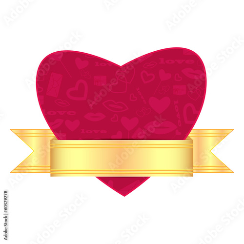 background for Valentine's Day.red heart decorated with a gold r