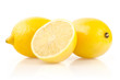 Lemons with Half on White Background