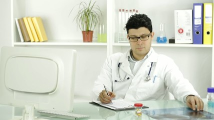 Young Doctor Worried Difficult Case Bad News Diagnosis Concept