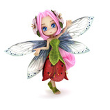 Fototapety Cute toon fairy posing on a white background