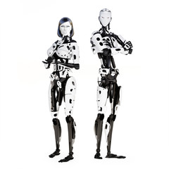 Female and male cyber robot posing on a white background.