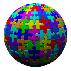 Colorful puzzle ball, 3d