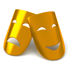 Gold theatrical masks - comedy and tragedy, 3d image
