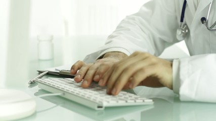 Doctor Hands Typing on Keyboard PC Medical Research Concept
