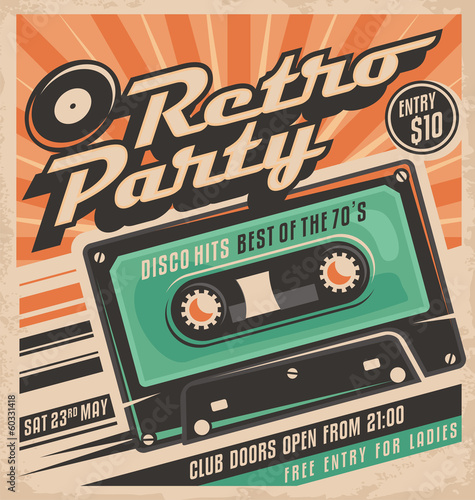 obraz PCV Retro party plakat