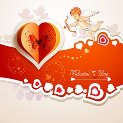 Valentine's day card with hearts and cupid