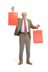 Businessman and paper bags
