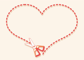 scissors cutting heart shape