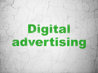 Marketing concept: Digital Advertising on wall background