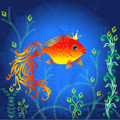 Goldfish in the sea