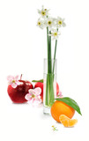 flowers in a vase, apple and orange on a white background - 60332008