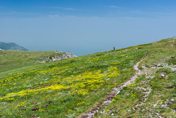 Spring season on Chatyr-Dah mountainous massif in Crimea