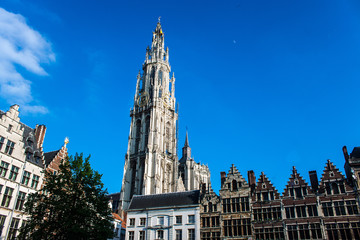 Market square and tower of Our Lady's Cathedral in Antwerp
