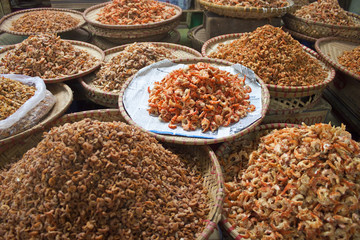 Dried shrimps at market in Hanoi, Vietnam