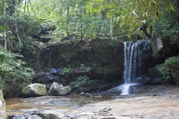 Waterfall in jungle at Kbal Spean in Cambodia