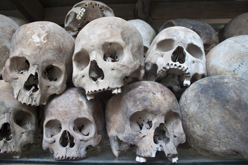 Stacked human skulls at the Killing Fields