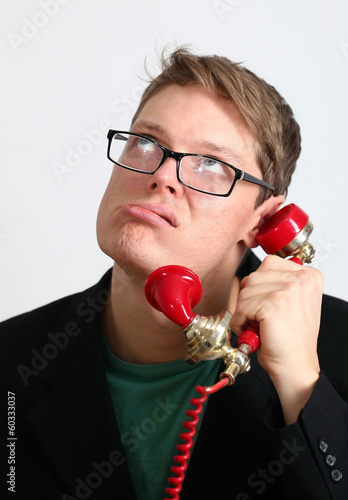 manager man shouting into the phone grimace