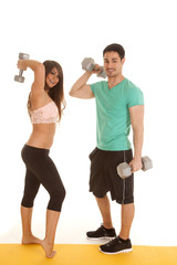 fitness couple lace bra facing weights