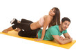 fitness woman lay on mans back both look