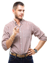 Smiling man pointing his finger to you