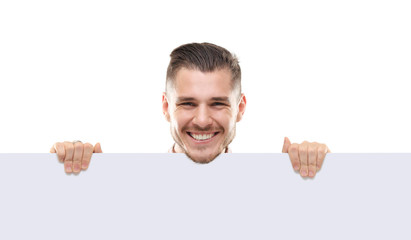 shocked businessman holding a blank white card board, signboard