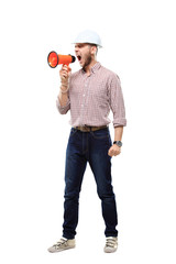 business man shouting using megaphone isolated on white