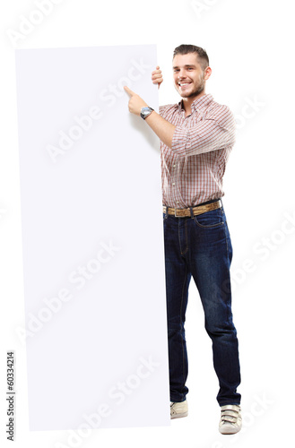 Happy business man presenting and showing text isolated on white