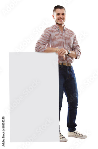 Happy business man presenting and showing text isolated