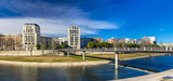 Fototapety Modern buildings in Montpellier by river Lez - France