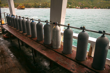 Cylinders aboard diving boat, Ko Tao, Thailand