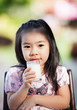 Asian girl drink milk