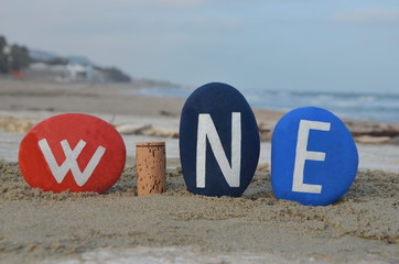 Wine, name composition on the beach